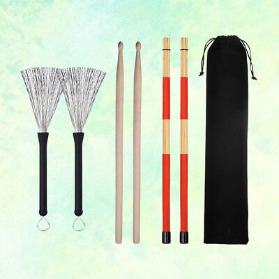 Drum Sticks Drum Brushes Set for Jazz Acoustic Music Lover Gift with Storage Bag