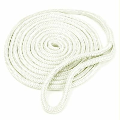 Boat 3/8'' 20FT Double Braid Dock Line With Loops Mooring Rope Kit -White Color