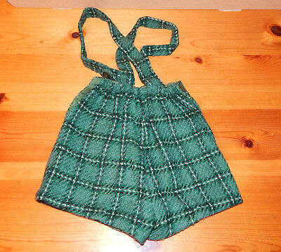 Vintage 1960s Handmade Little Boys Toddler Green Plaid Wool Shorts w/ Suspenders
