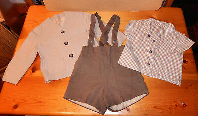 Vintage 1960s Little Boy Toddler 3-Piece Brown/Tan Outfit Shorts/Jacket/Shirt