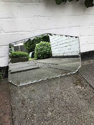 Rectangular Frameless Mirror Vintage Mirror Frameless Art Deco Mirror Bevelled