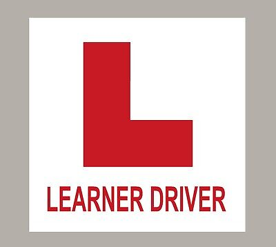 2 X L Plate Learner Driver Stickers Self Adhesive
