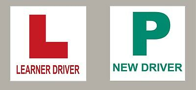 2 X L Plate Learner Driver 2 X New Driver Stickers Self Adhesive