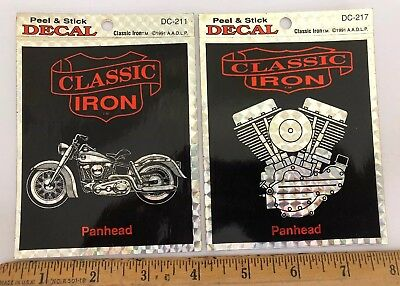 Lot 2 Harley Davidson Panhead Decals Stickers Classic Iron Motorcycle Engine
