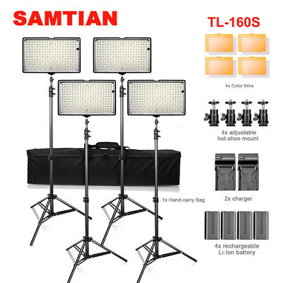 4-Pack 160LED Video Lights Camera Photography Studio Lighting Kits+ 4* Battery