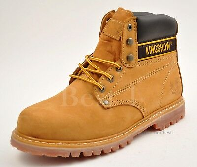 Kingshow Men's Tan/Yellow Work Boots Shoes Leather Winter Snow Insulated 8036