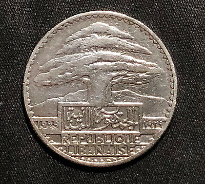 Lebanon 1929 Fifty 50 Silver Piastres - French Protectorate, Almost Uncirculated