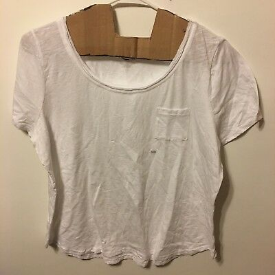 Lane Bryant Womens White T-Shirt SS V-Neck Top Pocket Blouse Plus Size 22/24