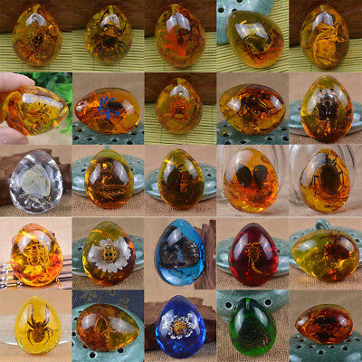 Fashion Beautiful Resin Amber Butterfly Insects Stone Pendant Necklace Gift