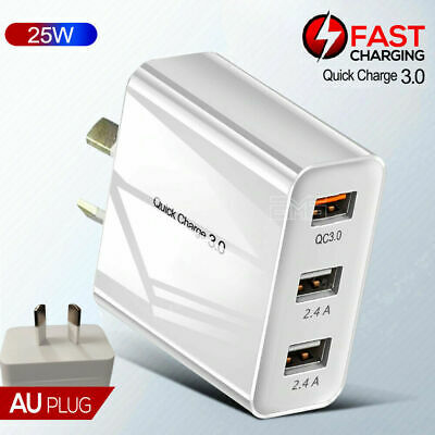 QC3.0 USB Ports Fast Charging Wall Charger Power Adapter For Apple iPhone iPad