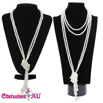 1920s 20s Long Pearl Necklace Vintage Bridal Great Gatsby Costume Accessories