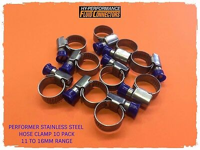 Performer Stainless Steel Hose Clamp Worm Drive 11-16Mm **10 Pack**