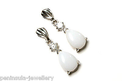9ct White Gold Opal Drop Dangly Earrings Gift Boxed Made in UK