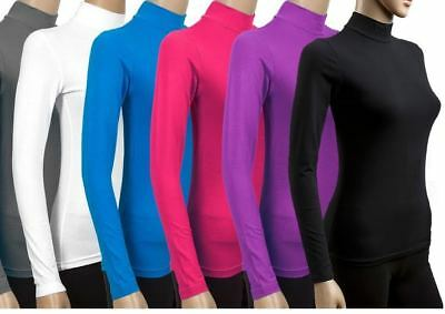 Ladies womens ribbed POLO jumper top turtle high neck full sleeve plain top^POLO