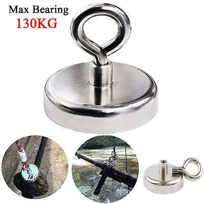 130kg Super Strong Salvage Recovery Magnet Neodymium Hook Hunting Fishing Tool