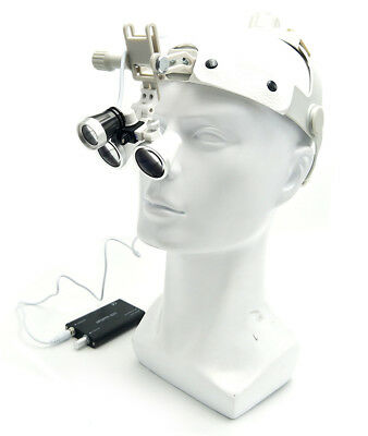3.5X Magnification Antifog Surgical Loupes with Dental LED Headlight White New