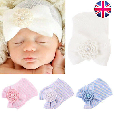 Soft Baby Girl Infant Colorful Striped Hat With Bow Cap Newborn Beanie Flower UK