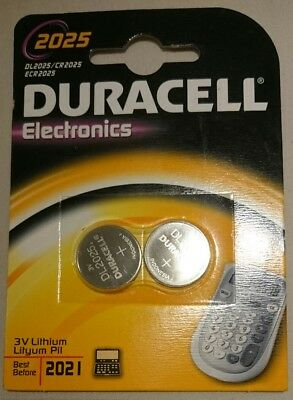 2 x Duracell CR2025 batteries Lithium Coin Cell DL2025 3V Pack of 2 FASTP&P