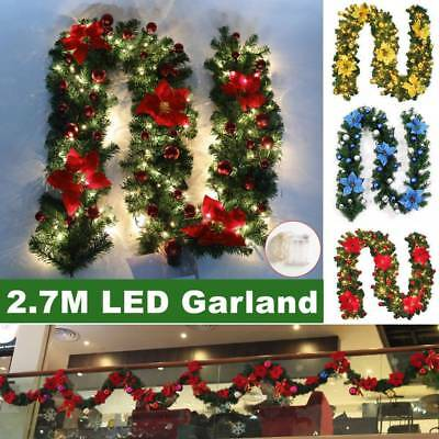 9ft Decorated 40 LED Garland Christmas Decor Wreath Fireplace Tree Pine Ribbon