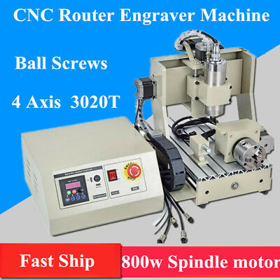 4 Axis 3020 CNC Router 3D 800W VFD Engraver Drilling Milling  Cutting Machine