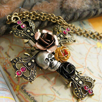 Alloy Vintage Cross with Skull Crystals flower Pendant Necklace Sweater Chain 66