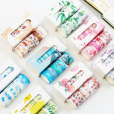 5pcs/box Washi Tapes Decorative Adhesive Tape Christmas DIY Crafts Gift Wrapping