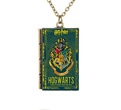 New Miniature Harry Potter Hogwarts Badge TINY Book Shaped Pendant Necklace