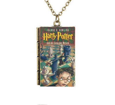 German Miniature Harry Potter and Philosopher's Stone TINY Book Pendant Necklace