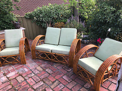 Genuine Vintage 1960s Three-piece Cane Sunlounge