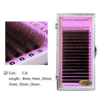 Natural Dark Brown Individual Eyelashes Semi Permanent Lashes Extension Volume
