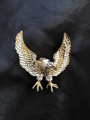 SOLID 925 Sterling Silver Gold Plated American Bald Eagle Pendant Charm
