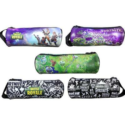 Game Fortinite Cylinder PU Pencil Case Pen Stationery Bag School Boys Supplies