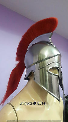 Medieval Greek Corinthian Helmet With RED Plume Armor Knight Spartan Reproductio