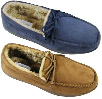 Mens Warm Comfort Slippers Moccasins Faux Fur Winter Indoor Shoes Soft Size