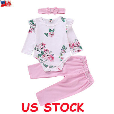 Newborn Baby Kid Girl Romper Tops Jumpsuit Pants Headband Outfit Clothes Set US