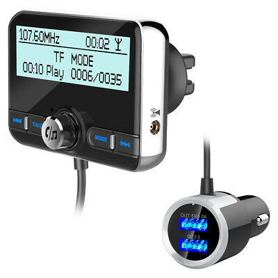 Bluetooth DAB Car Kit Charger LCD FM Transmitter Audio Dual USB TF Adapter MP3