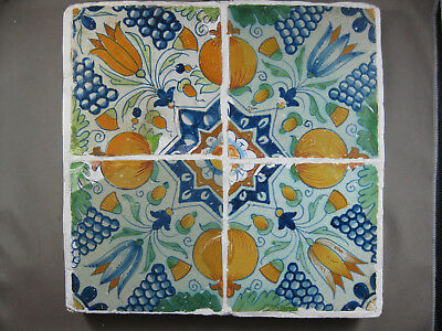 4 antike ornament Fliesen polychrom Tulpenstern mit Orangen Dutch Tiles 17 Jh. 1