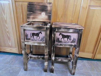 Set of 2 northwoods horse tables nightstand end table made in Maine solid wood