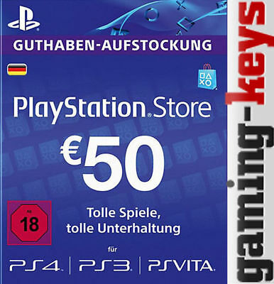 50 EUR DE PlayStation Network Card - PSN PS4 PS Vita 50€ Euro Guthaben DE