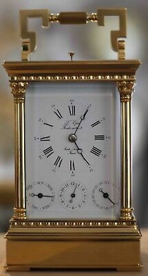 L'epee Vintage French 8 Day Multi-Dial Calendar Repeater Alarm Carriage Clock