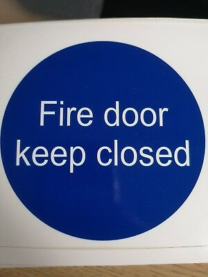 Fire door keep closed self-adhesive vinyl safety sign 95x 95mm sticker