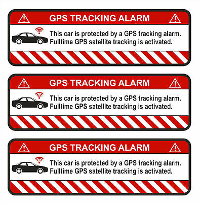 3x GPS Adhesive Car Alarm Warning anti Theft Sticker Tracker Protected