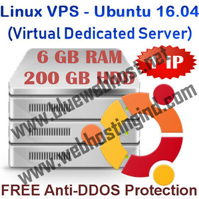 Linux VPS - Ubuntu 16.04 (Virtual Dedicated Server) 6GB RAM + 200GB HDD