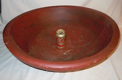 "Vtg/Antique HUGE 25"" out-of-round WOOD BOWL-19C-Red Milk Paint  *PA FARM FRESH*"