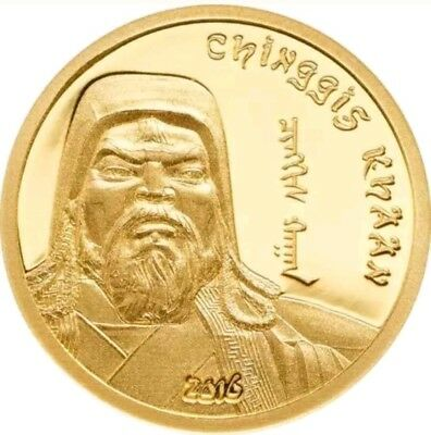 2016 0.5g PROOF Gold 1000 Togrog Mongolia CHINGGIS KHAAN Coin.