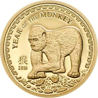 2016 0.5g PROOF Gold 1000 Togrog Mongolia YEAR OF THE MONKEY Coin.