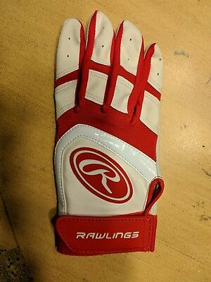 RAWLINGS BATTING GLOVE ADULT Small/Medium RIGHT HAND RED NYLON LEATHER New