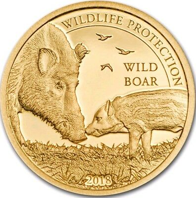 2018 1000 Togrog Mongolia WILD BOAR Wildlife Gold PROOF Coin.
