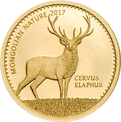 2017 1000 Togrog Mongolia RED DEER Gold Coin.