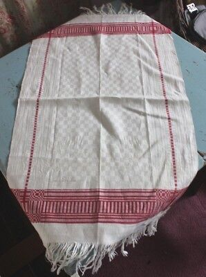 """Antique 19thc Turkey Red Work Linen Hand Loomed Guest Towel-Signed~L-32""""X W-19"""""""